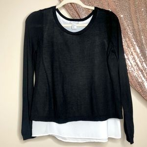 H&M Black & White Split Back Sweater